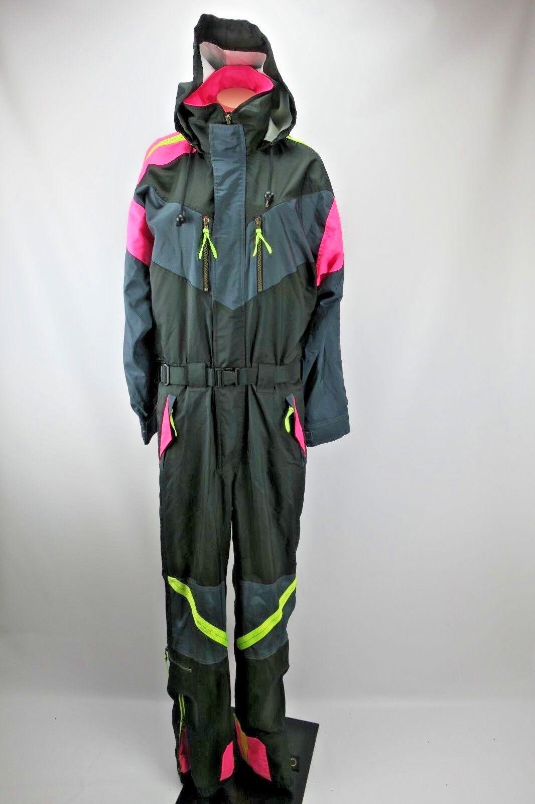 VTG JD Sun Valley Neon schwarz Ski snow suit sz S Jumpsuit Belted FarbeBLOCK