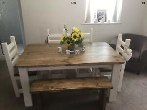 Rustic Farmhouse Dining Table 4 Chunky Chairs And A Bench All Hand Crafted Ebay