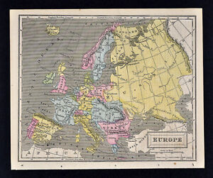 Map Of England Europe.Details About 1863 Cornell Map Europe Austria Turkey France Italy Germany Spain England Eu
