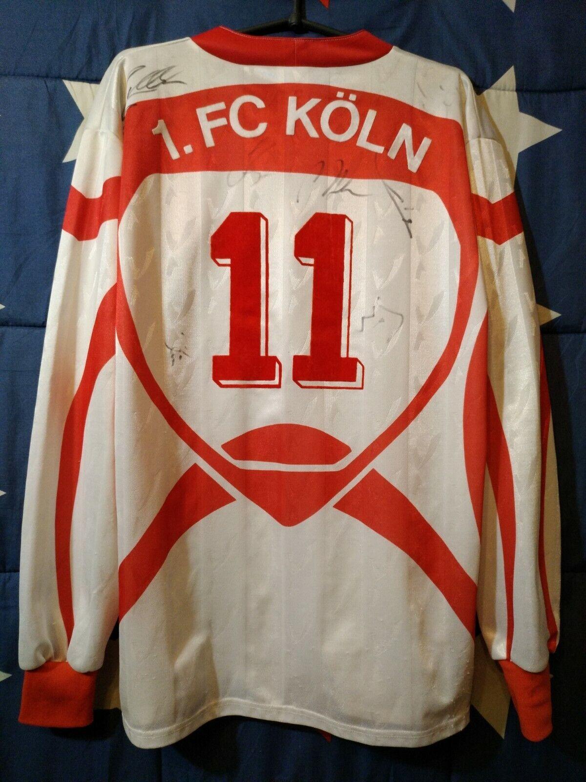 Größe XL FC Koln 1993-1994 Signed Home Football Long Sleeve Shirt Jersey  11