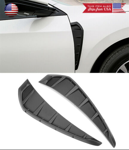 """13.4/"""" V2 Matt Black Fender Side Air Vent Cover Trim For 16-18 Honda Civic Fk8"""