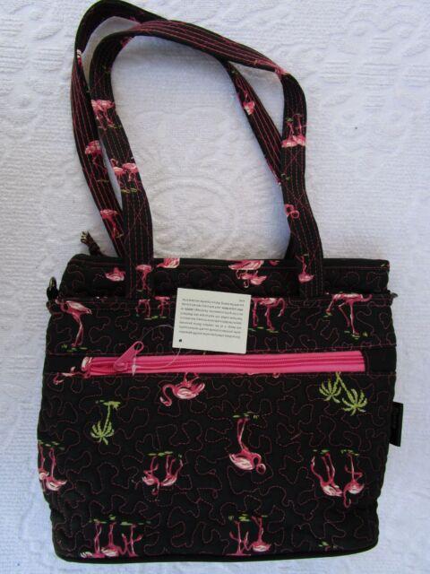 Donna Sharp Flamingo Quilted Jenna Bag Handbag Purse New