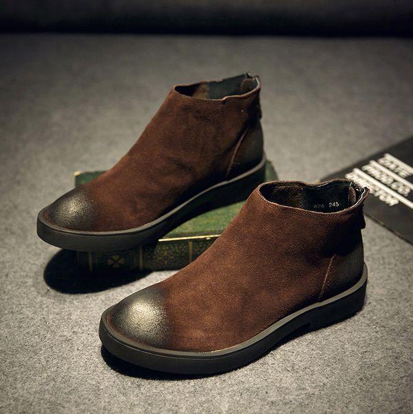 Gli uomini di di di pelle cuoio casual caviglia boot appartamento zip scarpe alte veste formale vintage c2c82a