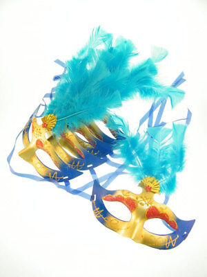 6x Maschera Occhi Maschera Venezia Piume Blu Carnevale Ballo In Maschera- Piacevole Al Palato