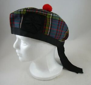 Green-Red-Black-Plaid-Childs-Hat-6-3-4-Scotch-Wool-Shop-Bermuda-Scotland-Pom-Pom