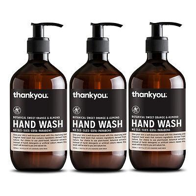 3 x Thankyou. Hand Wash Orange & Almond 500mL