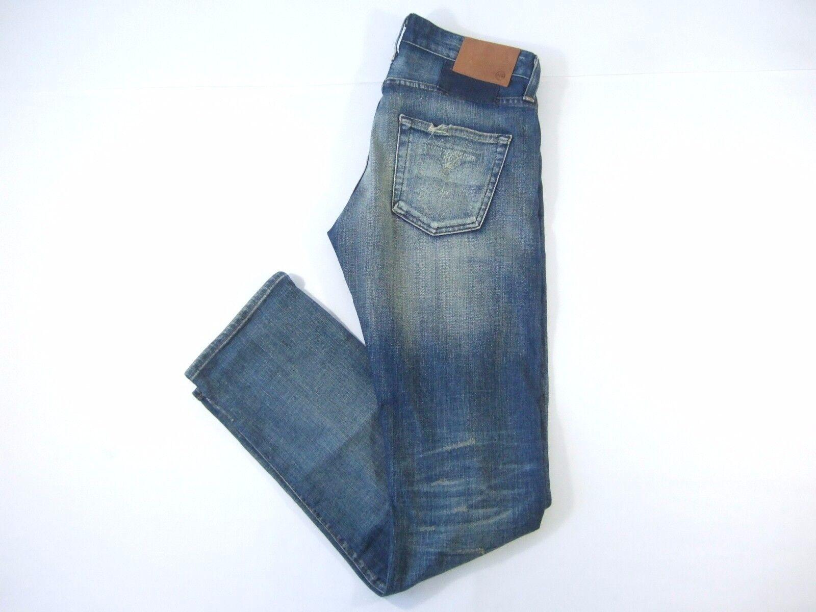 Adriano Goldshmeid USA The Matchbox Distressed Blau 30 Schmal Gerade Jeans Nwt