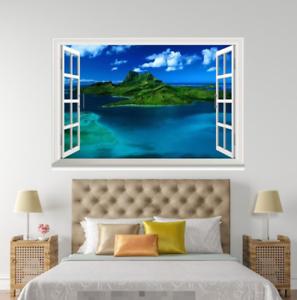 3D bluee Sky Sea 48 Open Windows WallPaper Murals Wall Print Decal Deco AJ Summer