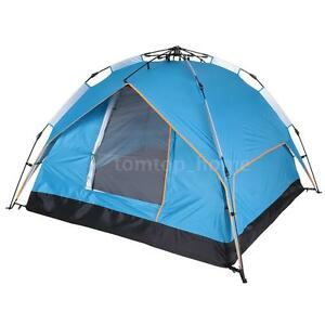 Instant-Automatic-Pop-Up-Backpacking-Camping-Hiking-for-3-4-Persons-Tent-Blue