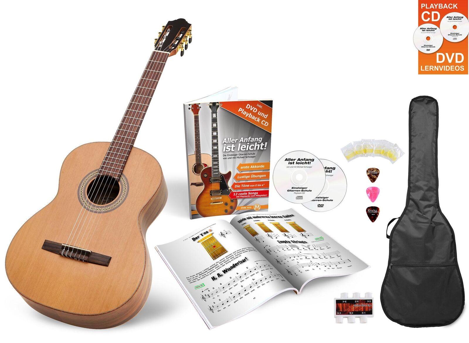 Konzertgitarre Klassik Gitarre 4 4 Akustik Zeder Walnuss Set Tasche Zubehör DVD