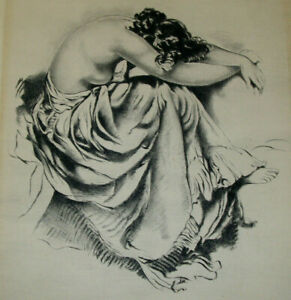 Antique-Female-Nude-Classical-Woman-Etching-Print-Art-Signed-Illegible-1800s