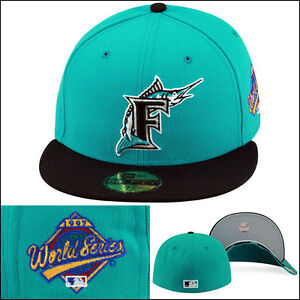 New Era Florida Marlins Fitted Hat Cap 1997 World Series Patch TURQUOISE/BLACK
