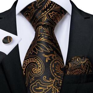 Black-Gold-Paisley-Silk-Necktie-Mens-Tie-Set-Hanky-Cufflinks-Wedding-Party