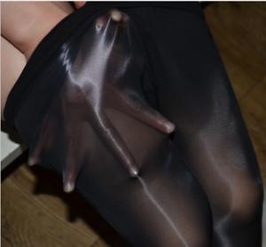 Men Oil Shiny Pantyhose Nylon Silicone Massage See Stocking Tights Sheath Club