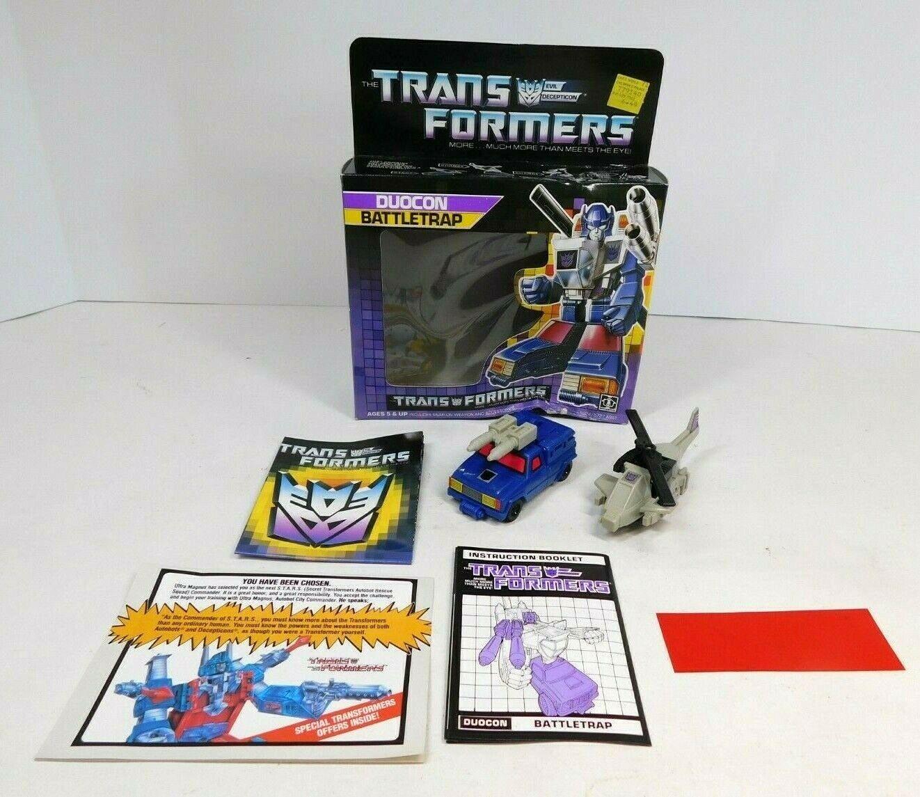 Transformers G1 duocon battletrap completo con caja, papeles 1987 Hasbro