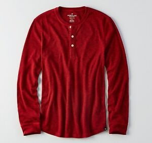 eb3563e0 NEW American Eagle Mens Thermal Long Sleeve Shirt Henley Red Blue ...