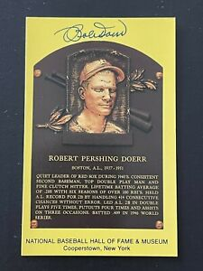 Bobby-Doerr-Boston-Red-Sox-Signed-Gold-HOF-Plaque-Postcard