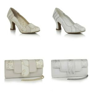 65ae16c39a3ed Details about Ruby Shoo Priscilla White OR Cream High Heel Wedding Shoes OR  Canberra Bag