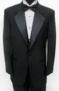 40 S Basic Black Notched Tuxedo Coat Pant Cummerbund Tie Prom Wedding Masonic