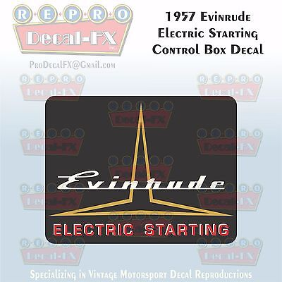1957 Evinrude Electric Starting Control Box Reproduction 1Pc Marine Vinyl Decal