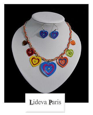Luxus Set 2 Tlg Kette Ohrringe Schmuckset Collier Halskette Emaille Lideva Paris