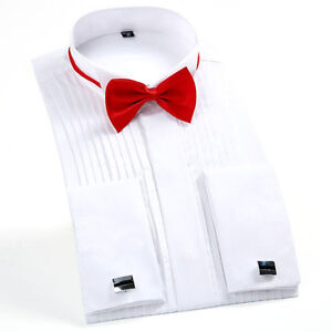 Mens-Cotton-Formal-French-Prom-Long-Sleeves-Suit-Dress-Shirts-Cuffs-Tuxedo-Tops