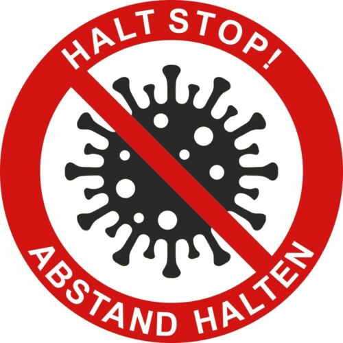 HALTET ABSTAND Aufkleber DRU 0254 CORONA HALT STOP