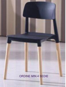 Sedie In Legno Per Alberghi.Sedia Ergonomica Impilabile Berlino Nera Gambe Legno Veranda Cucina