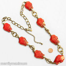 Chico's Signed Necklace Long Gold Tone Statement Orange Chunky Foil Beads