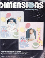 Counted Cross Stitch Net Darning Kit: Baby Photo Frames, Set Of 2 14 X 16 In.