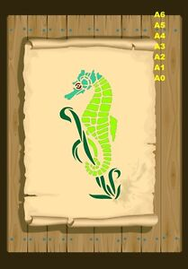 SeaHorse-tethered-to-seaweed-Stencil-350-micron-Mylar-not-thin-stuff-SeaH01