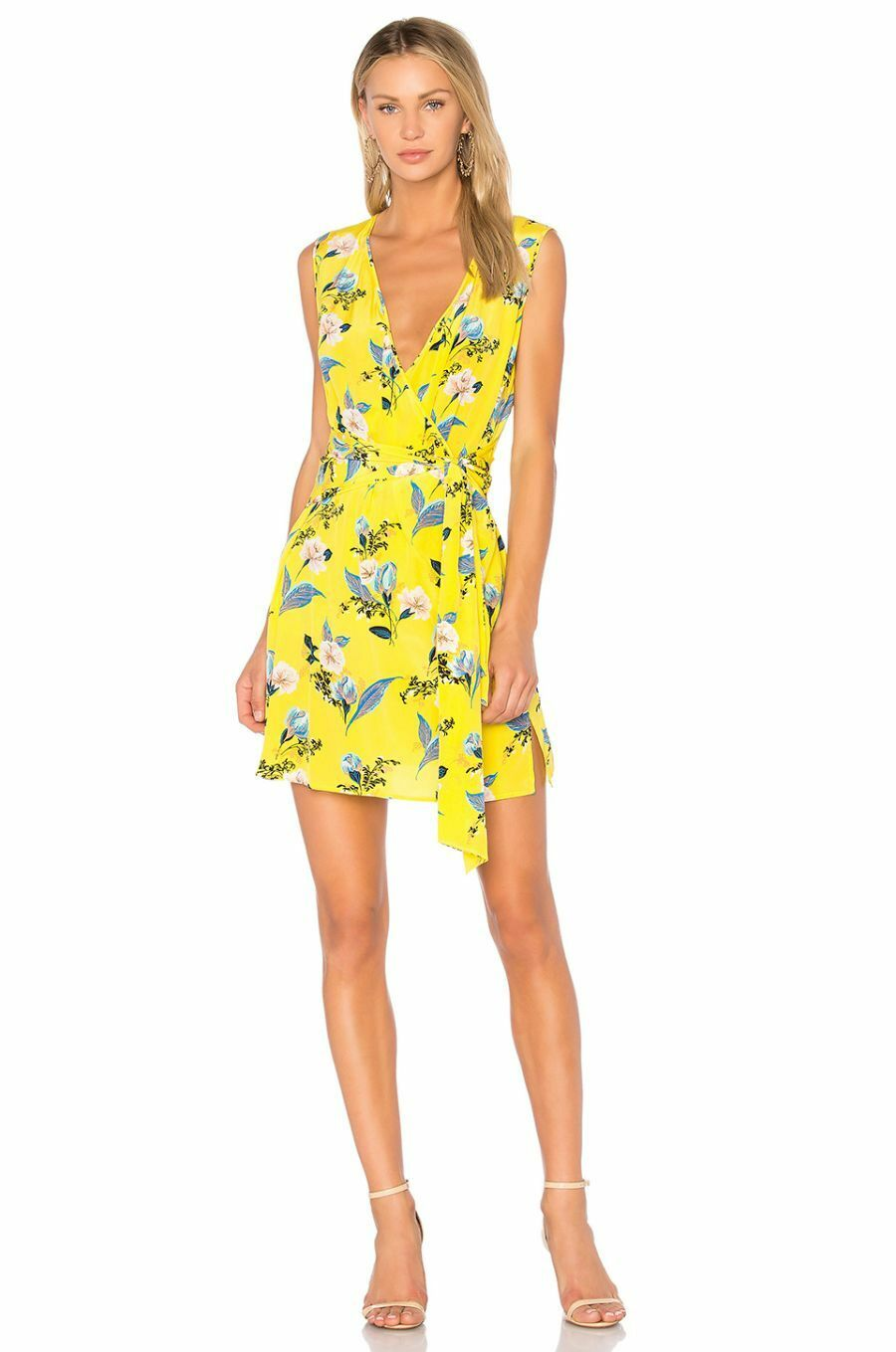 NWT Diane von Furstenberg Silk Mini Dress in Silese Acid gul XS  P  298