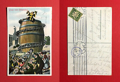48632 Exquisite Traditionelle Stickkunst Anlass Ak MÜnchen 1910 Gruss Vom Oktoberfest Bierfass Münchner Kindl Bier & Brauerei