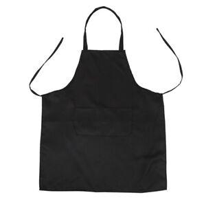 Unisex-Grembiule-da-Cucina-con-2-tasche-Nero-in-Medio-H8P7