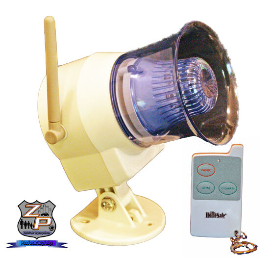 Wireless OutDoor Siren Flashing Light & Remote Control Can Use as Panic Alarm