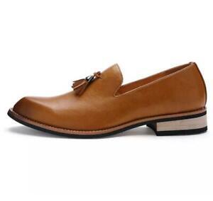 British-Mens-Leather-Tassel-Decor-Round-Toe-Slip-On-Loafers-Shoes-Dress-Formal