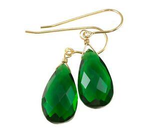 Emerald-Green-Earrings-Simulated-Emerald-Teardrops-Sterling-14k-solid-Gold-Drops