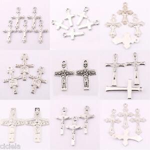Lots-25-50Pcs-Tibetan-Silver-Jesus-Cross-Charms-Pendant-Craft-Jewelry-Making-DIY