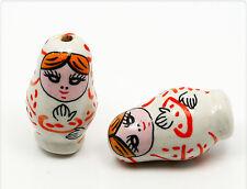 4x  Porzellanperle Russian Doll Babuschka 27x15mm TB001