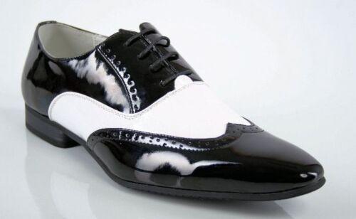 Herren Schuhe, Schwarz Weiß Weiss, Lack, extravagant, Al Capone Mafia Gr 39 44 | eBay