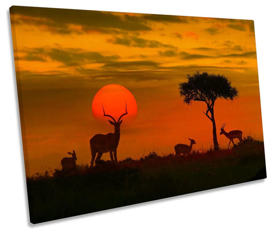 AFRICA TRAMONTO Wildlife Safari a muro arte foto stampa singola