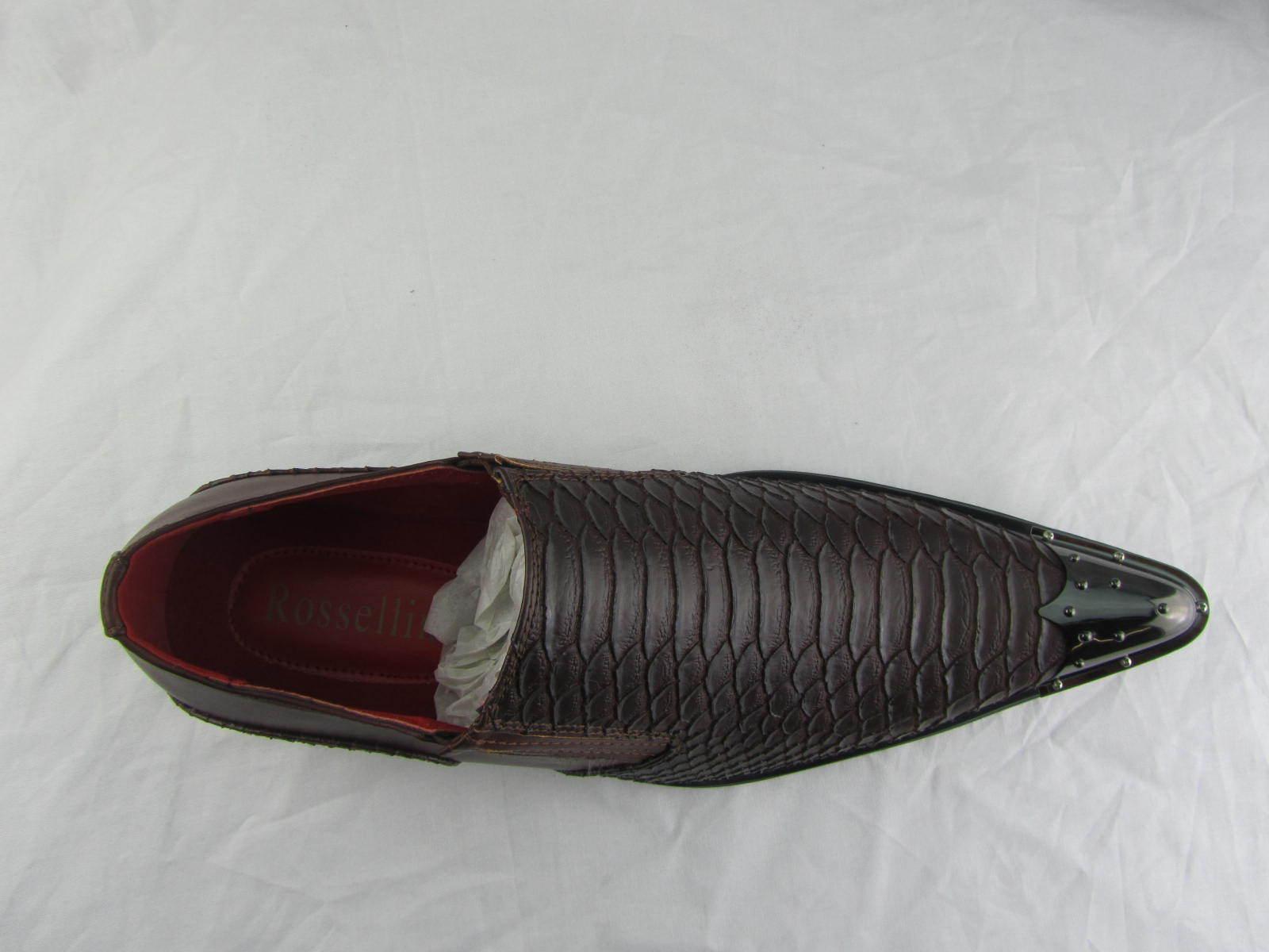 Rossellini Benitez Benitez Benitez hombreS Zapatos Marrón Leather Lined Metal Pointed Rock Zapatos e60447