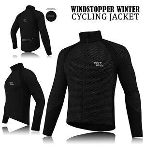 Mens-Cycling-Winter-Windstopper-Jacket-Thermal-Fleece-Windproof-Coat-All-Black