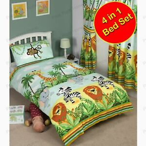 Jungle-Tastique-4-IN-1-Set-Couette-Literie-de-Junior-Lion-Elephant