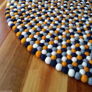 Image Is Loading Round Felt Ball Rug Orange Navy Grey Amp