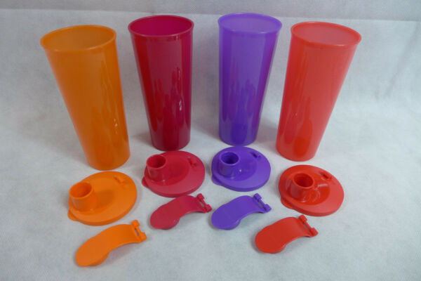 9e5a08d73b Tupperware Tumblers Be Dazzled Lot of 4 Seals Flip-Top 16-oz. Sparkly.  Hover to zoom