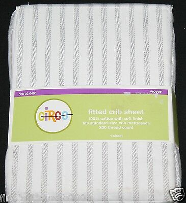 Circo Gray Stripe Fitted Crib Sheet toddler bed sheet new