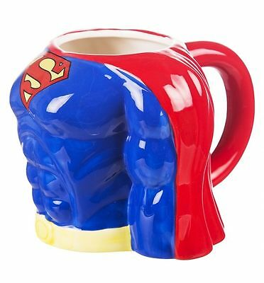 DC COMICS 3D TORSO COFFEE MUG CUP BATMAN SUPERMAN SUPERHERO