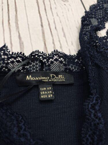 Massimo Dutti mujer tan Top Canale Puntilla Azul Marino Tamaño Pequeño