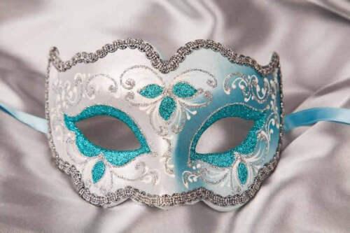 Ladies Silver Trim Eye Mask Iris Fiore